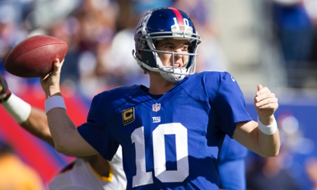 Eli Manning has two picks in the second half as his New York Giants attempt to hang on to a lead against the Washington Redskins.