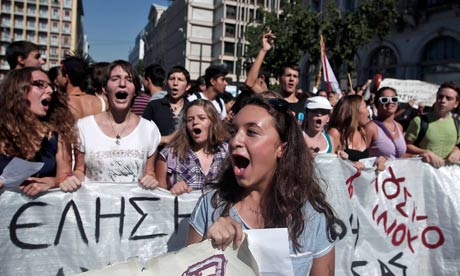 Greek arts and music students protest in Athens