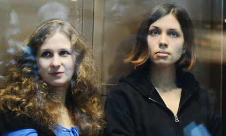 Pussy Riot band members Maria Alyokhina and Nadezhda Tolokonnikova during their court hearing