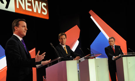 David Cameron, Nick Clegg and Gordon Brown take part in the second live leaders' election debate