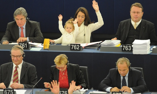 Licia Ronzulli, Italian member of the European parliament, and her daughter Vittoria take part in a voting session in Strasbourg