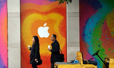 The walls of the California Theater in San Jose are decorated with an Apple logo.