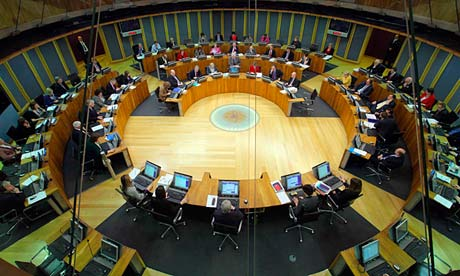 View of the Welsh assembly in session