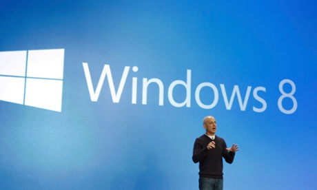 Steven Sinofsky, president of the Windows and Windows Live division at Microsoft, speaks at the launch of Windows 8