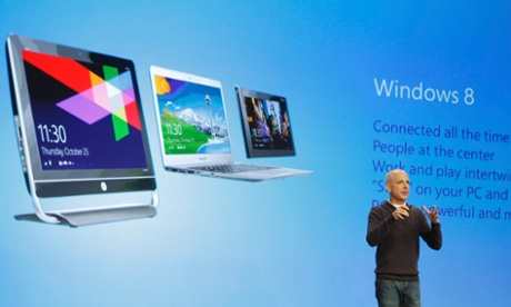 Steven Sinofsky,president of the Windows and Windows Live division at Microsoft, speaks at  the launch event of Windows 8.