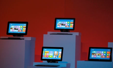 Devices running Windows 8 operating system are shown at the launch of Windows 8 operating system in New York.