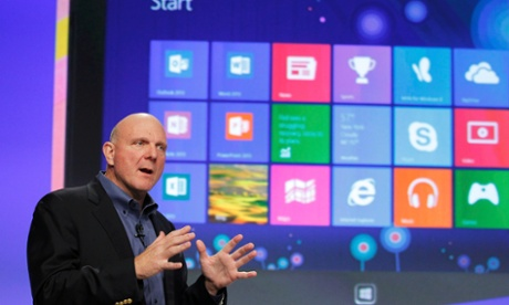 Microsoft CEO Steve Ballmer speaks at  the launch event of Windows 8 in New York.