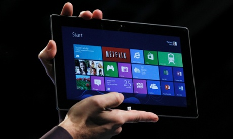 The Microsoft tablet computer, Surface, at a demonstration in New York.