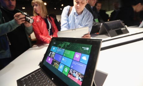 The Microsoft Windows 8 operating system is on display at a press conference in New York,