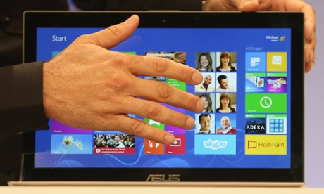 The touchscreen Windows 8 operating system is unveiled at a press event in New York.