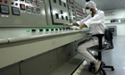 An Iranian technician works at a uranium conversion facility near Isfahan