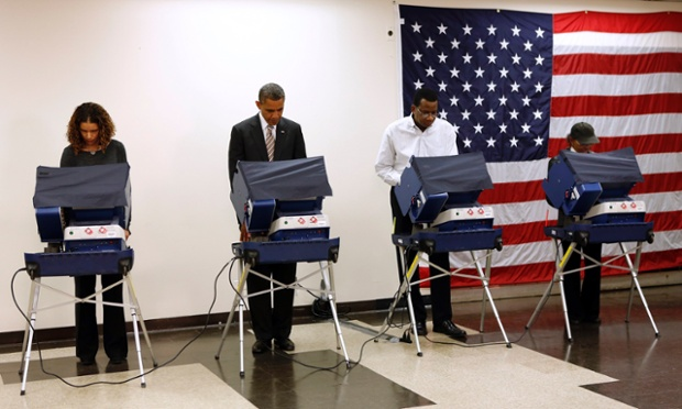 Barack Obama casts his vote early at the Martin Luther King Community Center in Chicago, Illinois.
