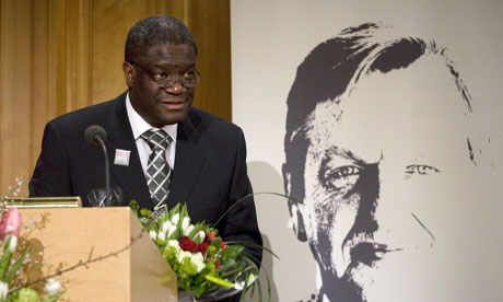 Dr Denis Mukwege receiving the Olof Palme Prize at the Swedish parliament in Stockholm