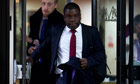 Former UBS trader Kweku Adoboli leaves Southwark crown court after his first day of testimony
