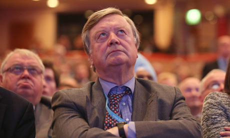 Ken Clarke watches a video at the Conservative party conference in Birmingham