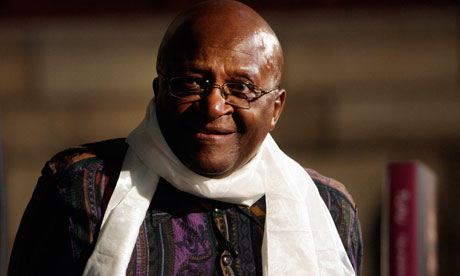 Archbishop Emeritus Desmond Tutu looks on during his autobiographical book launch in Cape Town