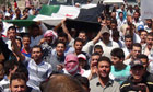 Anti-Assad demonstrators near Damascus