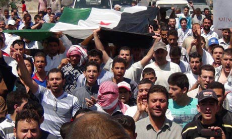 Anti-Assad demonstrators near Damascus