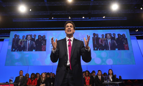 Ed Miliband delivers his keynote speech.