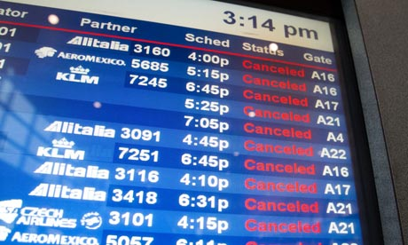Flight cancellations due to Sandy at Boston Logan international airport.