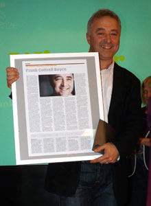Frank Cottrell Boyce and his prize