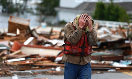 Brian Hajeski, 41, of Brick, New Jersey, after looking at debris of a home that washed up on to the Mantoloking Bridge the morning after superstorm Sandy rolled through.