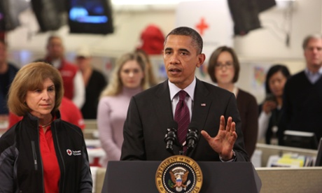 Barack Obama speaks at Red Cross headquarters Washington, DC, about ongoing relief in the wake of Hurricane Sandy.