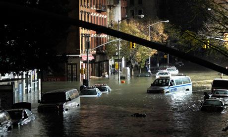 New York, flooded street after Hurricane Sandy 2012