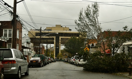 Downed power lines near the Terrace on the Park in Queens