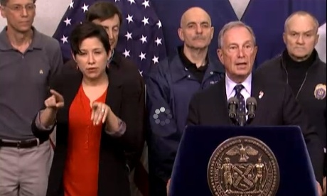 Mayor Michael Bloomberg in a Tuesday evening briefing on super-storm Sandy.