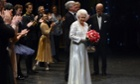 Queen Elizabeth II receives applause following the national anthem prior to meeting members of the cast and crew after a Gala Jubilee celebration at the Royal Opera House, London.