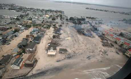 A handout photograph provided by the US Air Force on 31 October 2012 shows aerial views of the damage caused by Hurricane Sandy to the New Jersey coast, taken during a search and rescue mission by 1-150 Assault Helicopter Battalion, New Jersey Army National Guard, on Tuesday.