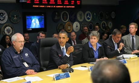 President Obama at Fema headquarters to talk about the cleanup efforts in the wake of Superstorm Sandy. Photograph: Martin H Simon/EPA