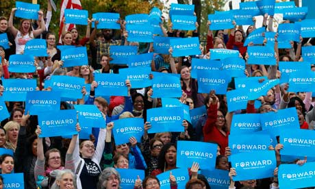 Female supporters of President Obama during a campaign rally at George Mason University in Fairfax