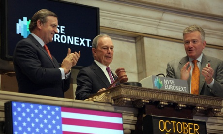 New York mayor Michael Bloomberg rings the opening bell of the New York Stock Exchange on the first day of opening since Hurricane Sandy.