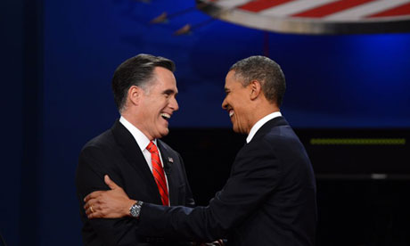 Obama and Romney shake hands debate