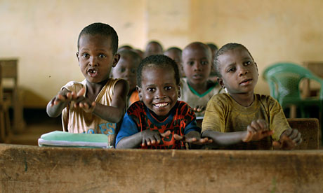 Somali children in class at a refugee camp north of Dadaab