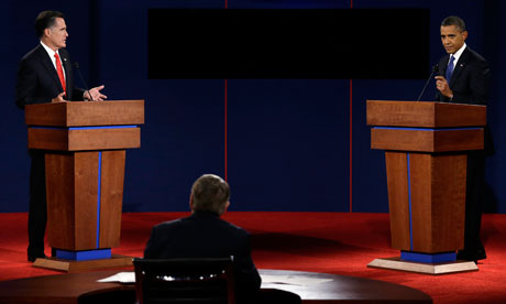 Mitt Romney and Barack Obama in the first presidential debate at the University of Denver