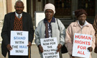 Mau Mau veterans Wambugu Wa Nyingi, Jane Muthoni Mara and Paulo Muoka Nzili outside court