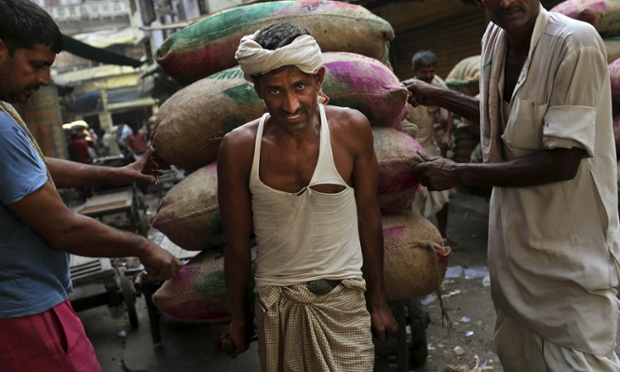 Indian laborer carries a load of cloves