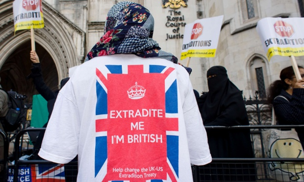 A supporter of Babar Ahmad, a british computer expert accused by the United States of raising funds for terrorism. The group are calling for the extradition of Babar Ahmad to be halted and for his trial to be held in the UK.