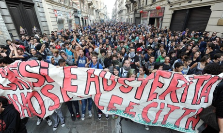 Demonstrators attend a student protest in Turin, Italy, 05 October 2012. Police arrested several people when scuffles broke out as students protested against austerity measures.