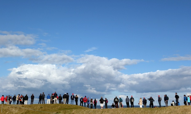 Looking out to see: Spectators watch the action during the second round of The Alfred Dunhill Links Championship in Kingsbarns, Scotland.