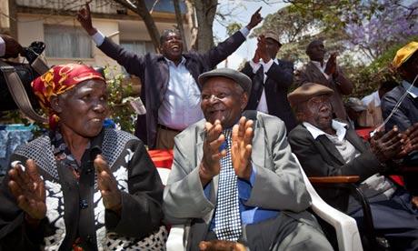 Mau Mau veterans Muthoni Mara, Wambuga Wa Nyingi and Paulo Muoka Nzili