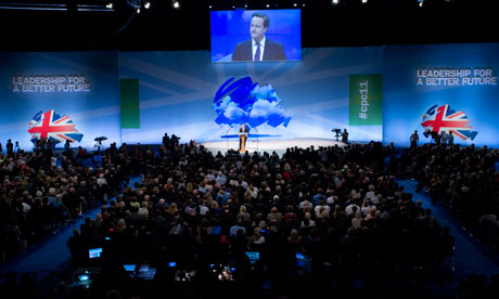 David Cameron speaks at the Conservative party conference in Manchester in 2011