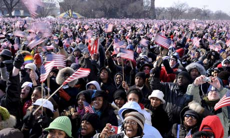 Crowds gather at Barack Obama's presidential inauguration