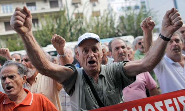A pensioner shouts slogans during an anti-austerity protest in front of the EU headquarters in Athens on Monday, Oct. 8, 2012.