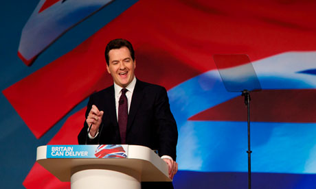 George Osborne outlines his 'shares for rights' plan during his speech to the Tory party conference