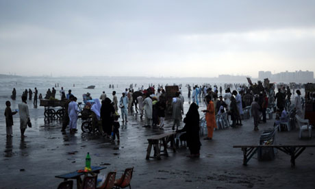 A beach in Karachi. The brain-eating amoeba is often caught through swimming in infected water