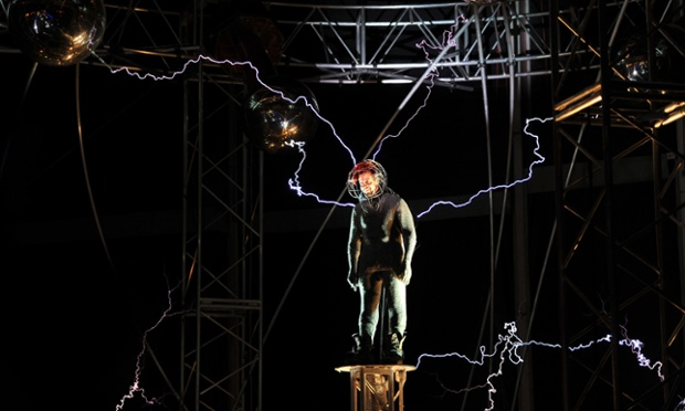 Magician David Blaine performs Electrified, his 3 days and 3 nights magic performance, at Pier 54, New York. Blaine had been surrounded by towering metallic orbs that will stream 1 million volts of electricity around him for the past 72 hours.